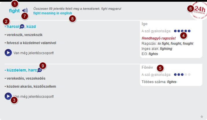 Magyar angol szótár példa címszó.